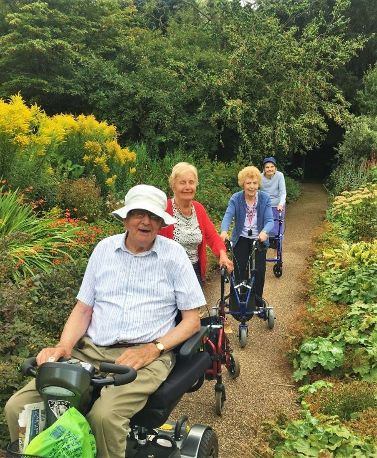 Residents at The Lawns care home visit the Botanical Gardens in Oadby