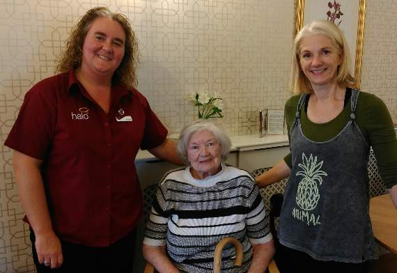 Sian Thomas and Sue James from Halo Leisure visit Ross Court