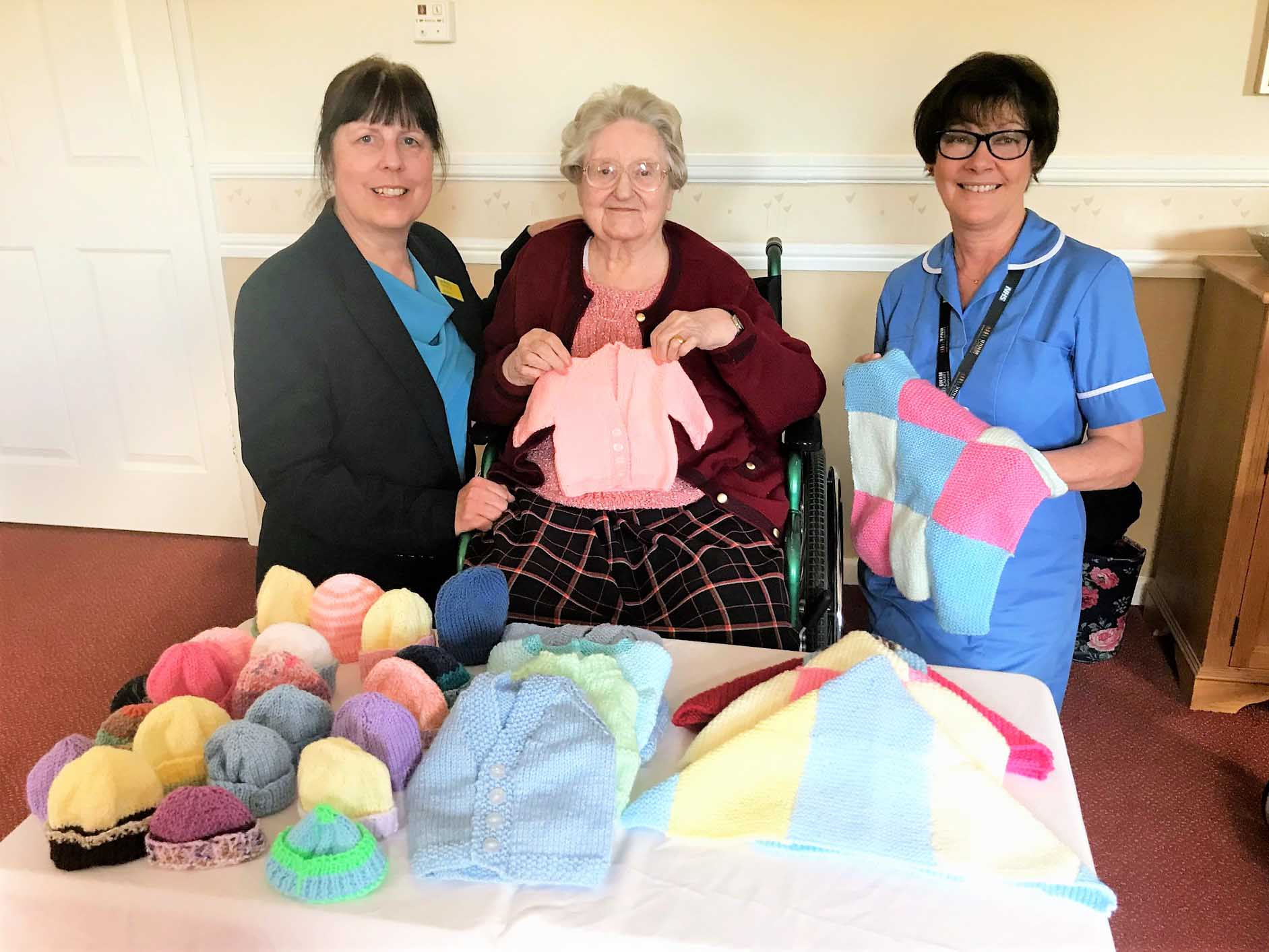 Wheaton Aston Court Care Home knits clothing and blankets for the Special Care Baby Unit  at Royal Stoke University Hospital