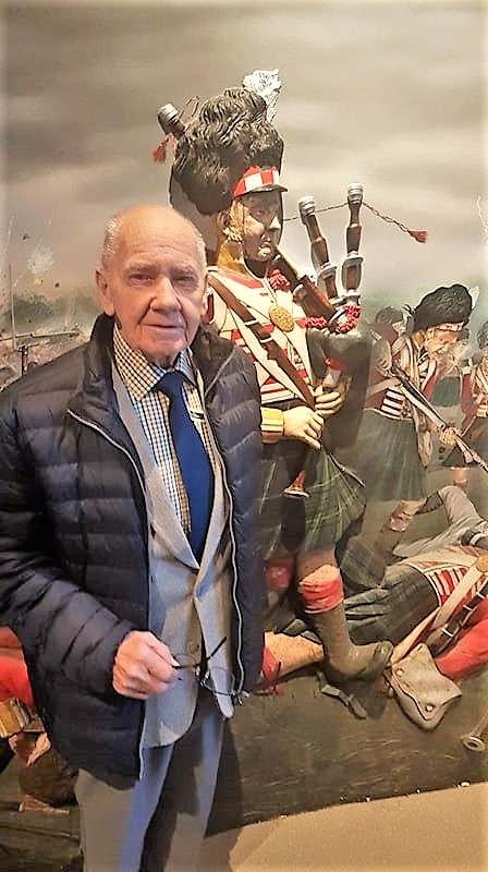 Resident Dennis pictured with one of the displays at The Gordon Highlanders Museum