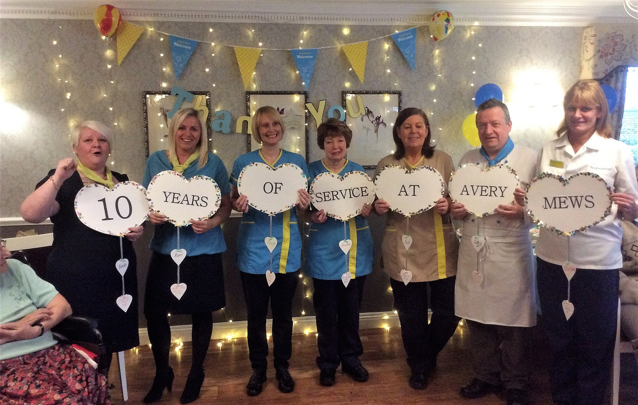 Team members Sarah, Keri, Shirley, Ginette, Sue, Gary and Christine at their long service awards party