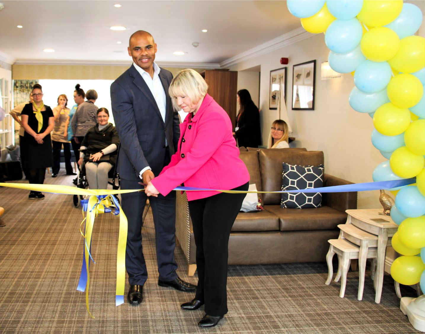 Bamfield Lodge Care Home, Bristol-The Mayor and Deputy Mayor cutting the ribbon to officially open our new look home