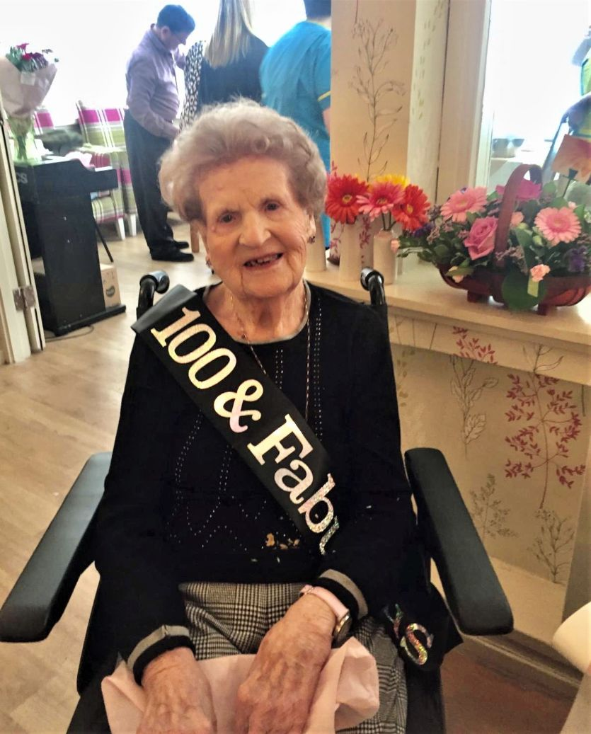 Buchanan Lodge Care Home, Glasgow-100 and fabulous! Happy Birthday to our lovely resident Annie