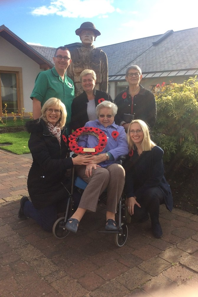 Erskine's Craig Berry, team members Frances McFayden, Irene Monaghan, Allison Blair, Resident Margaret Ingram and Home Manager Lorrie Milne at Erskine