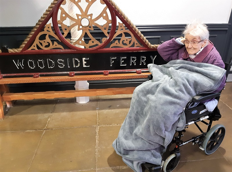 Charlotte House Care Home, The Wirral-Resident Beryl ready to take the ferry across the Mersey