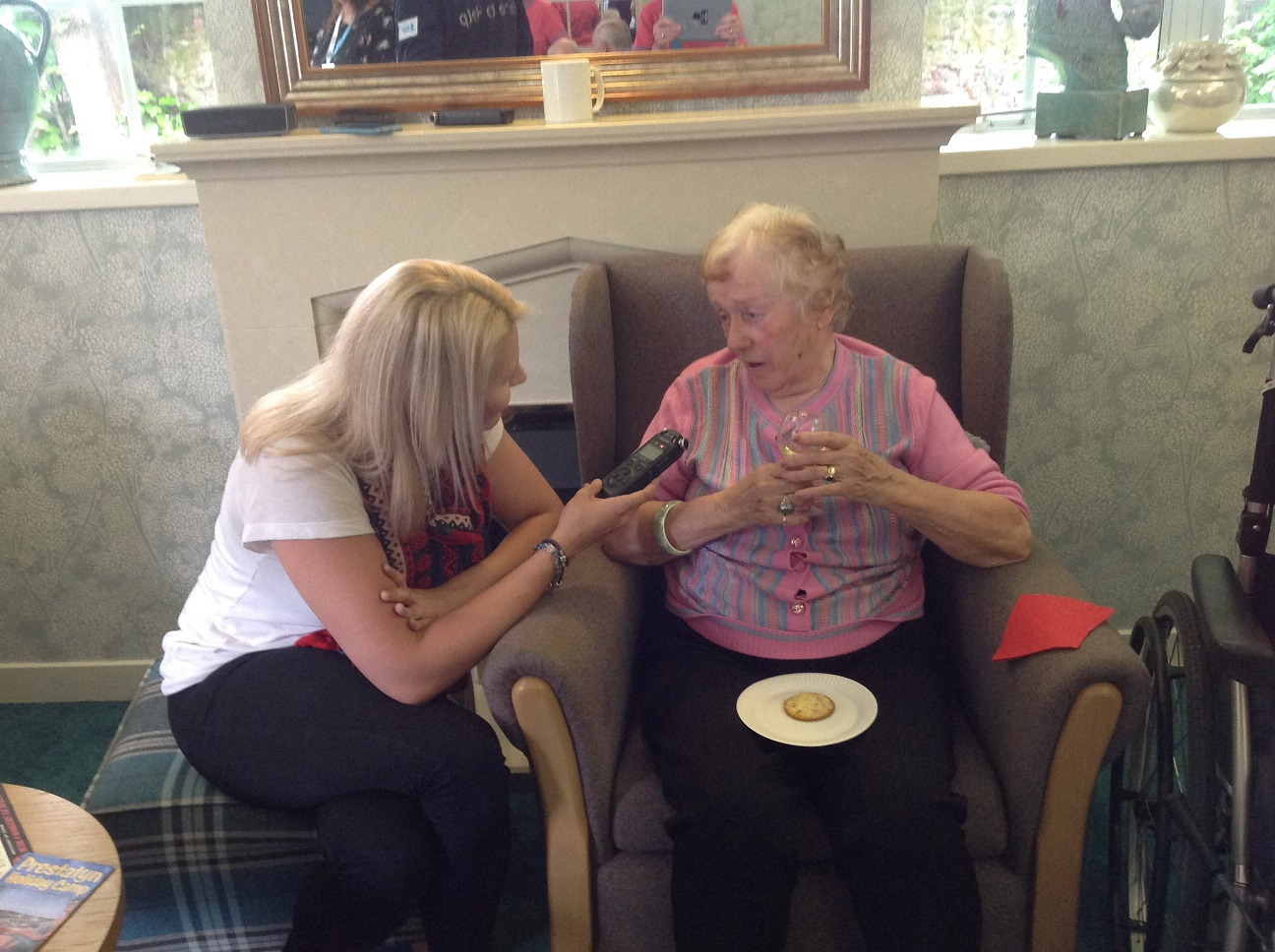 Lottie from Bauer Radio interviewing resident Jutta