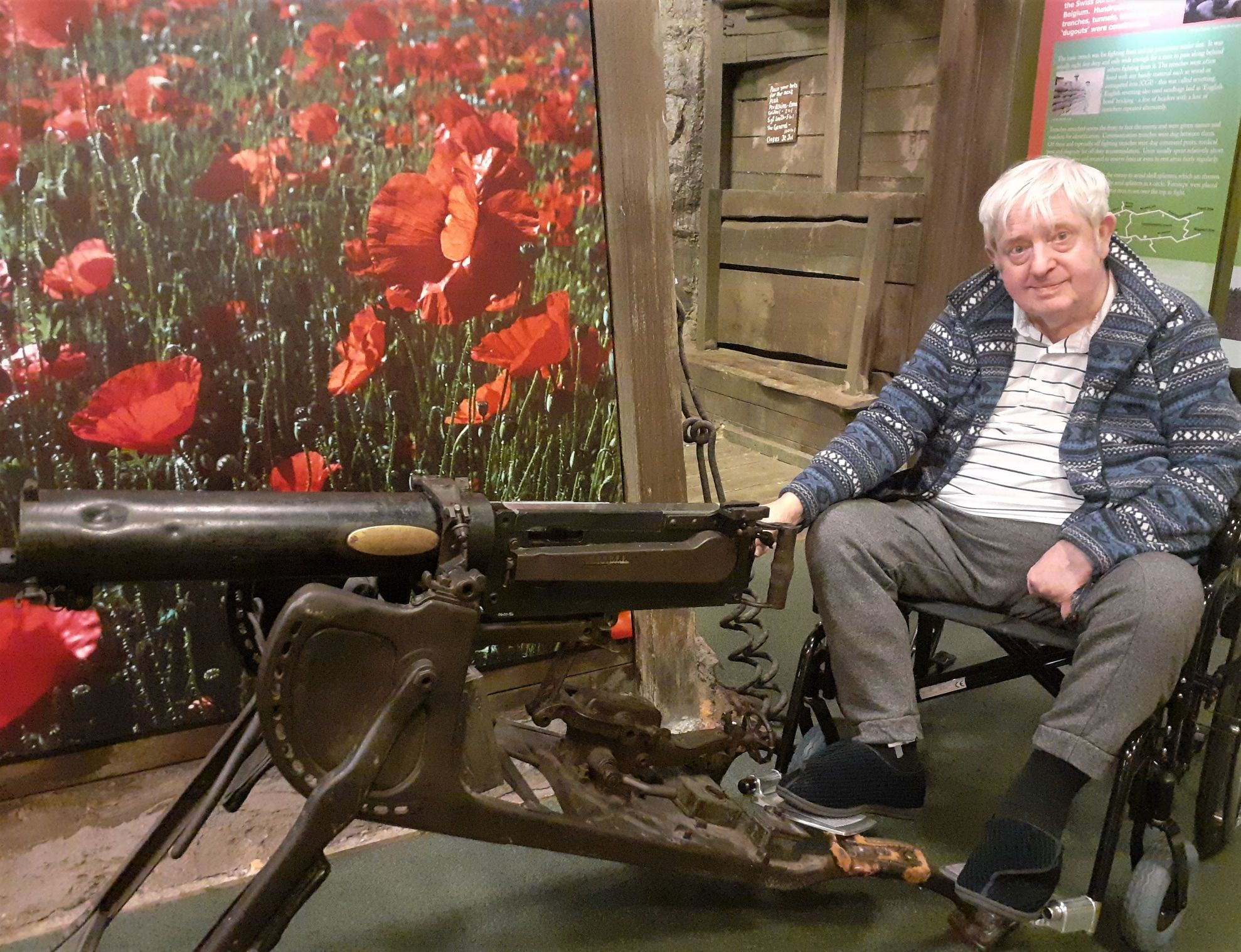 Crabwall Hall Care Home, Chester-Resident Cliff pictured with a Maxim machine gun used in WWI