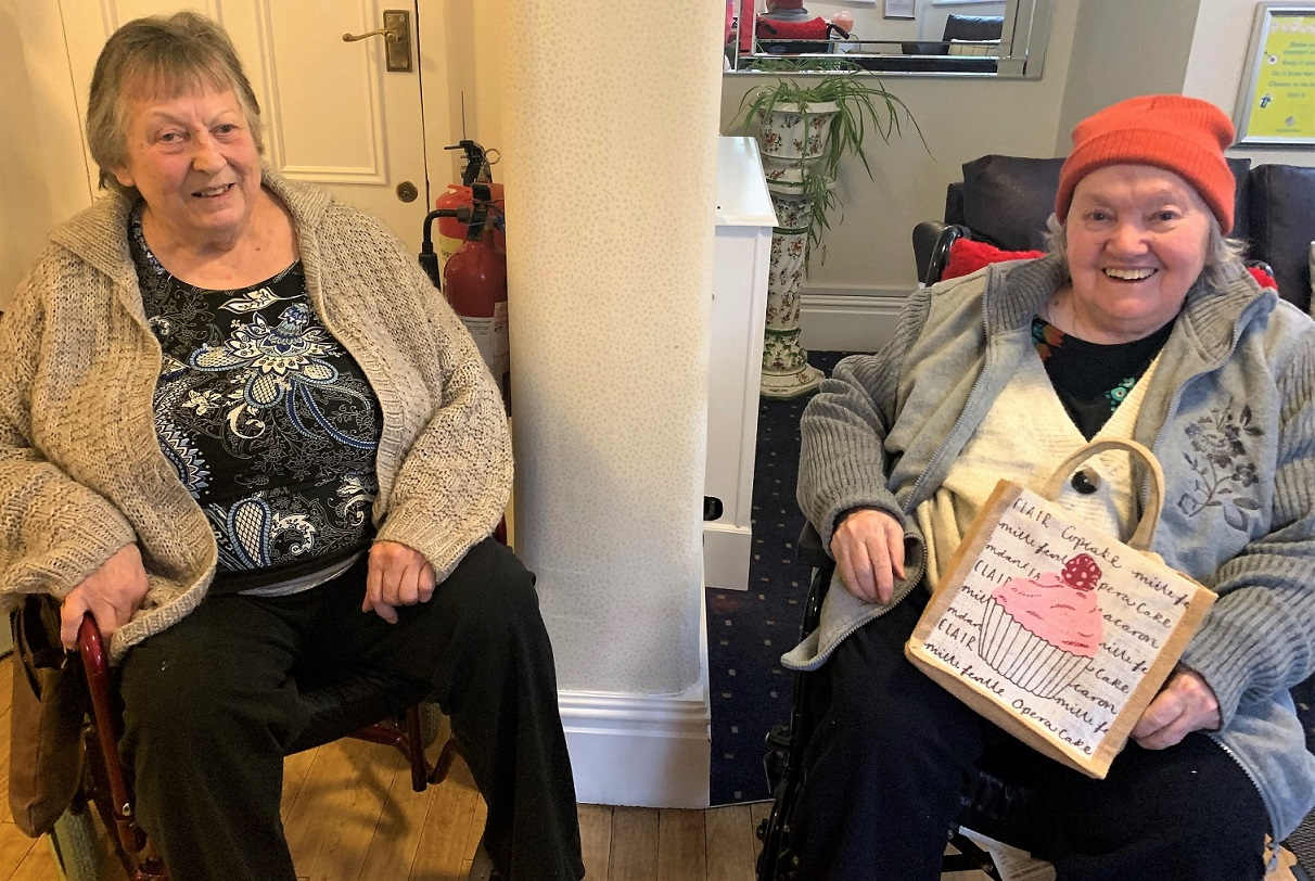 Residents Sheila and Doreen ready for their weekly visit to the Winchester Stroke support group