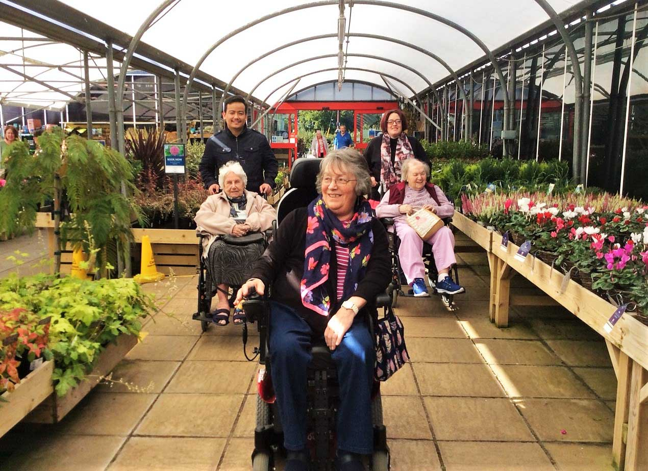 Flowerdown Care Home's day of flowers at the garden centre