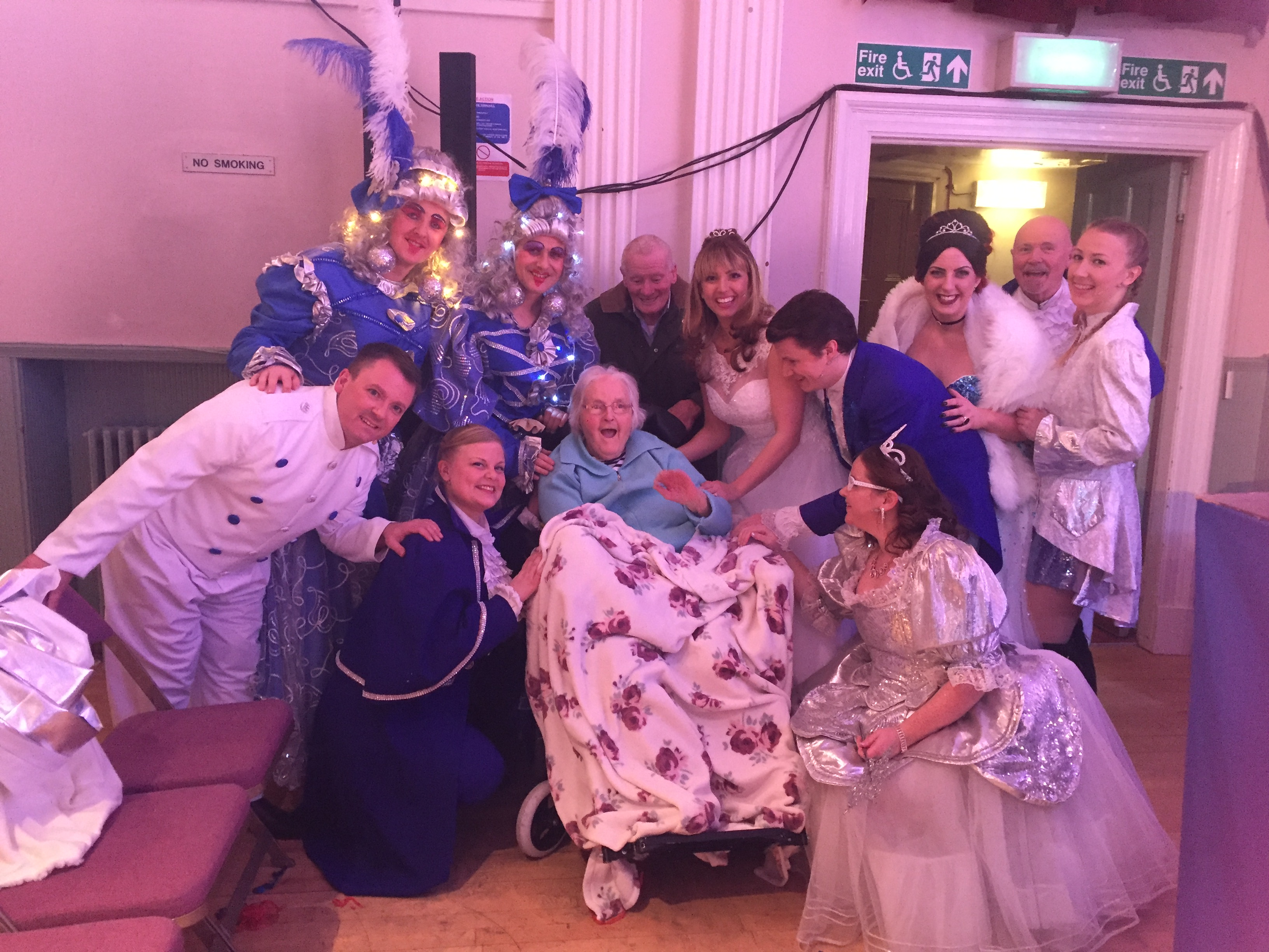 Kath and Duncan surrounded by the cast of Cinderella