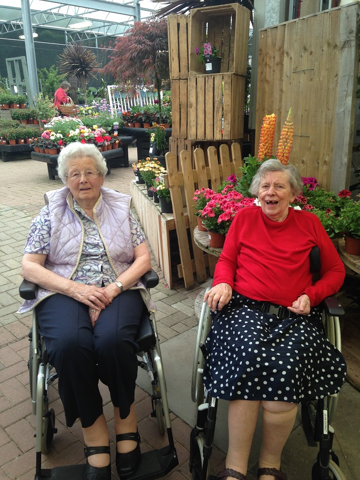 Residents Meg Carnie and Jean Durno enjoying their girl's trip to the garden centre