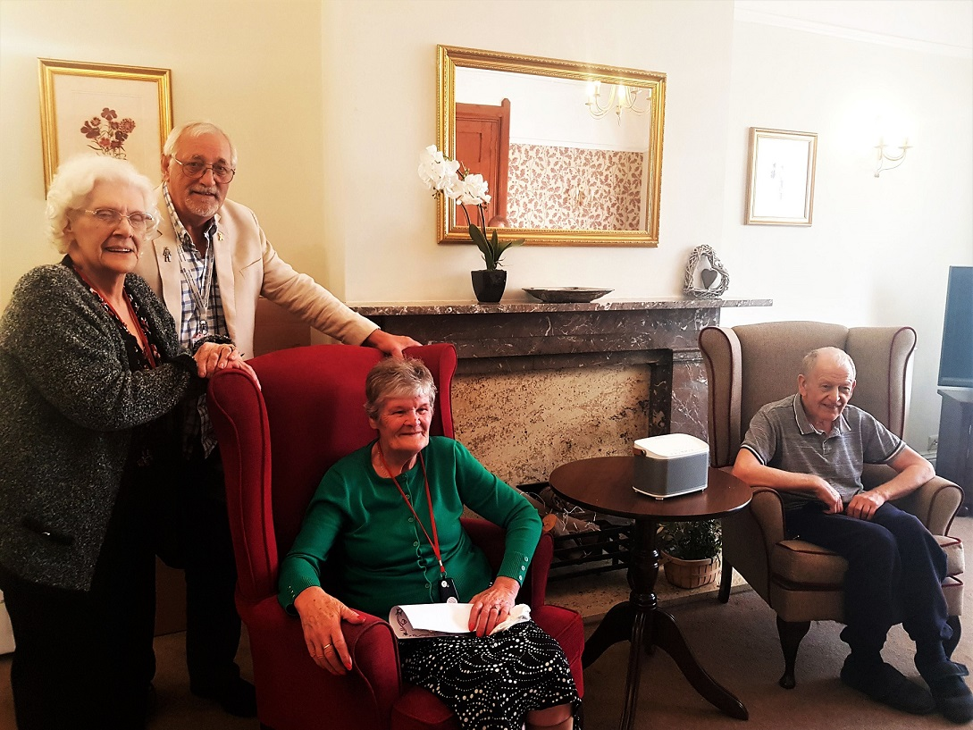 Glebefields Care Home, Banbury-Resident Vera, Radio Horton presenter Jon Cox and residents Kathleen and Alvar at the launch of the new Care Home Radio Service at Glebefields