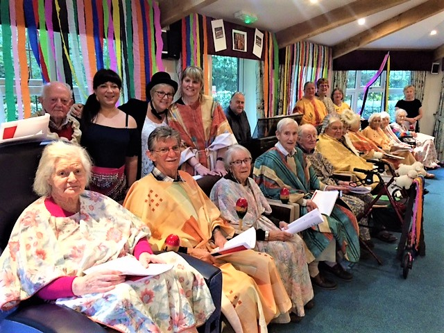 Lawton Manor Care Home's production of Joseph and the Amazing Technicolour Dreamcoat has the Wow Factor! - Group photo of all the amazing performers- residents, staff and friends