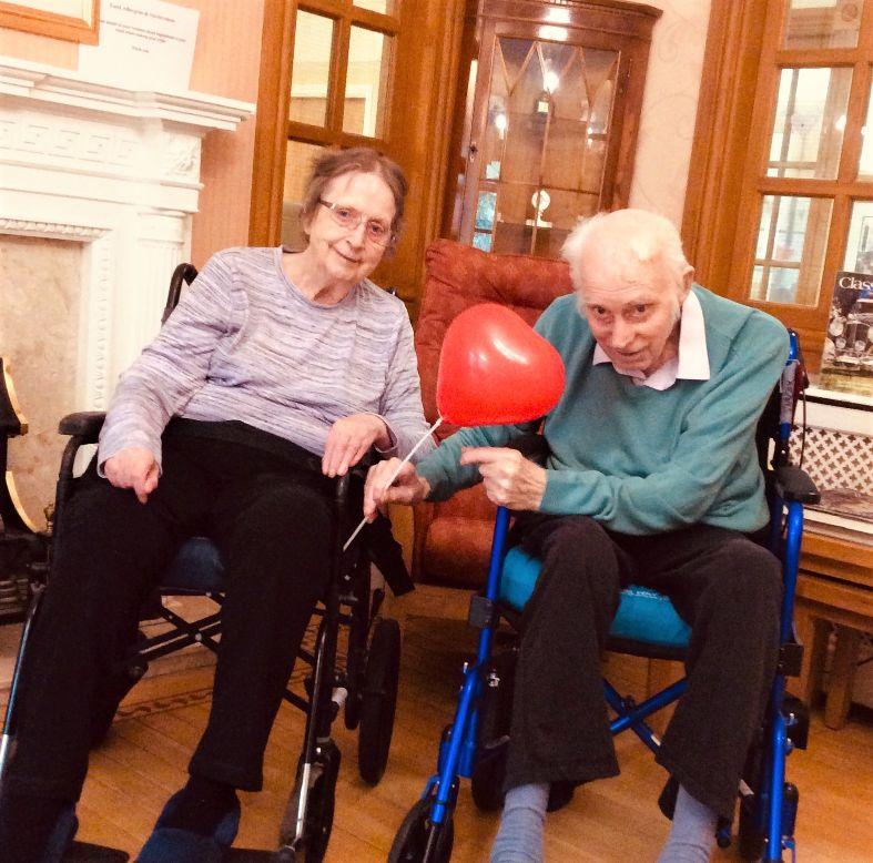 Henleigh Hall Care Home, Sheffield-Residents Mr and Mrs Simcox who have been married for 60 years celebrate Valentine's Day