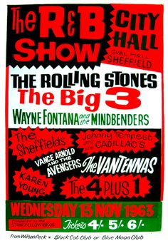 A poster advertising a concert at Sheffield City Hall in 1963