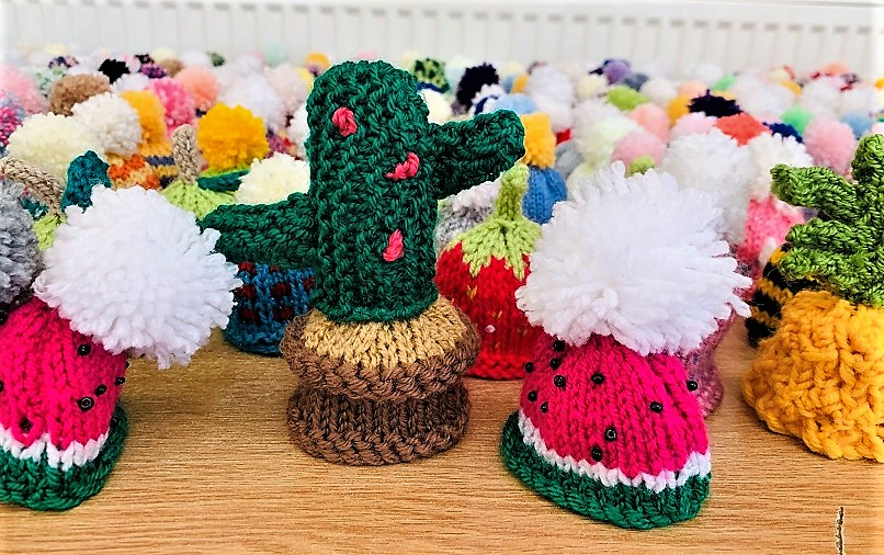 Highfield Care Home, Ware-A closer look at the detail on just some of our 401 knitted bobble hats