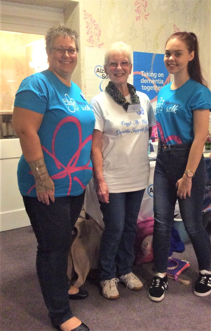 Highfields Care Home, Newark-Deputy Manager Sharlotte, Joan from the Forget-Me-Not group and Sharlotte's daughter Emily at our fundraising afternoon
