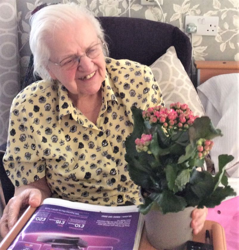 Houndswood House Care Home, Hertfordshire-Yvonne with her lovely plant