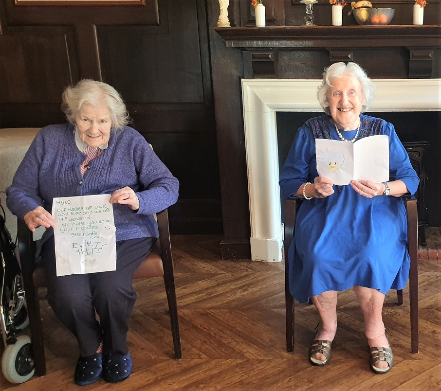 Hungerford Care Home, Berkshire-Doris and Audrey with their letters from our Postcard Pals