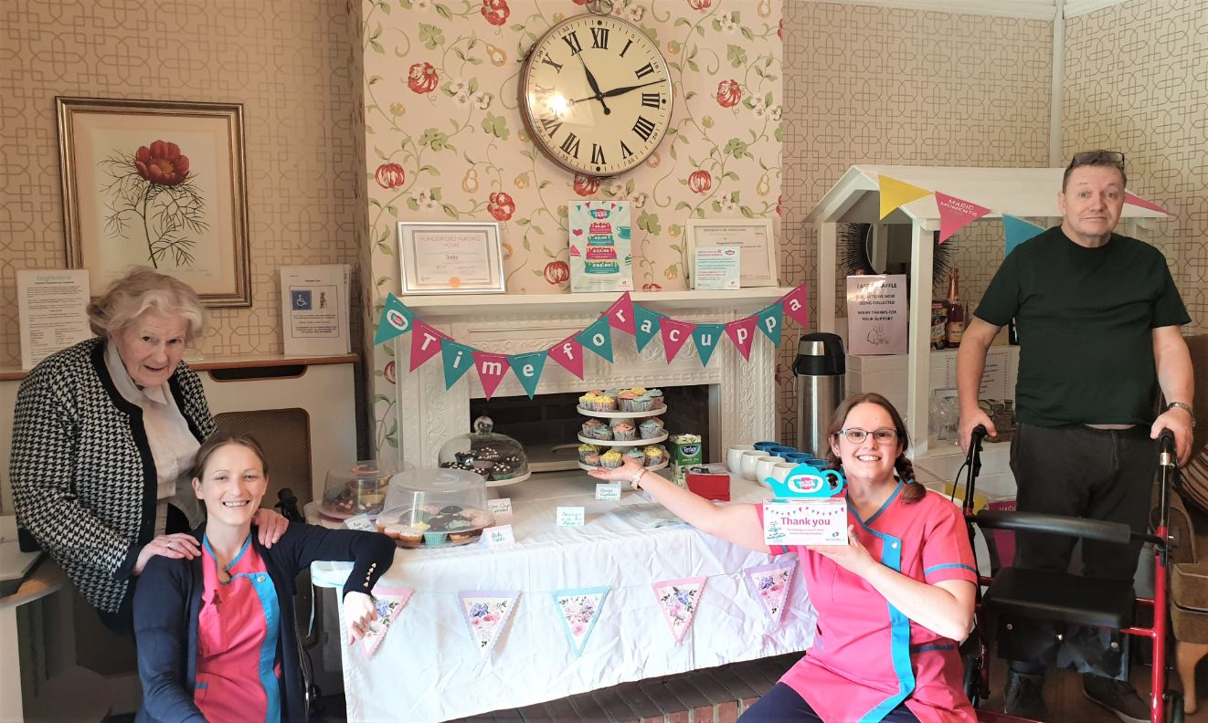 Hungerford Care Home, Berkshire-Resident Doris, team members Sarah and Hari and resident Graham at our 'Time for a Cuppa' fundraising morning