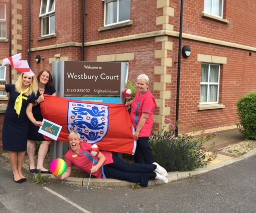 Members of the Westbury Court team ready for their Slipper Soccer challenge!