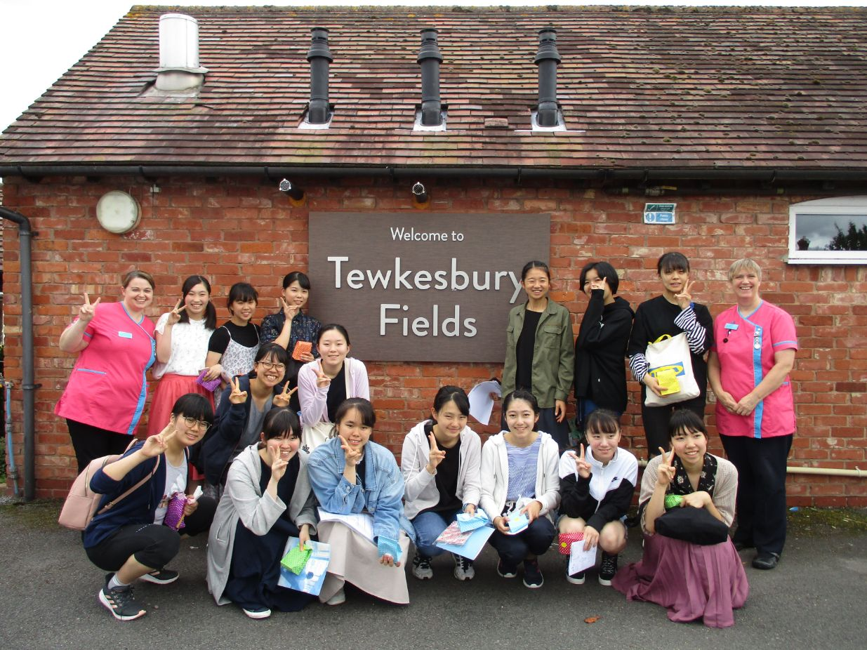 Tewkesbury Fields Care Home in Gloucestershire have a visit from Japanese pupils