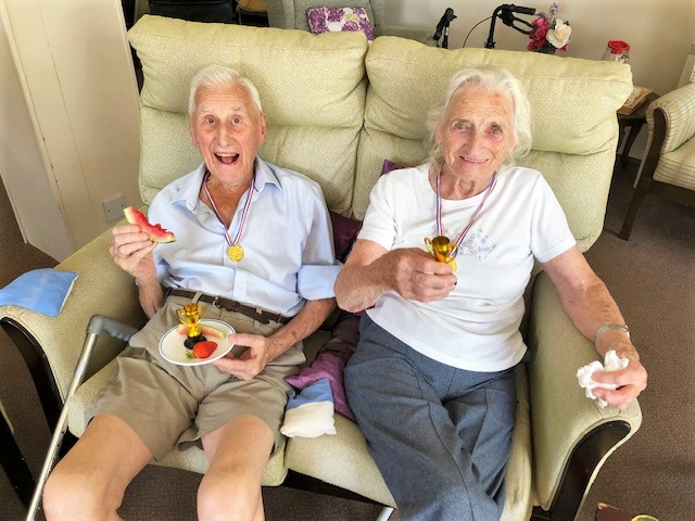 Residents at Cossins House Care Home in Cobham enjoy a summer sports day