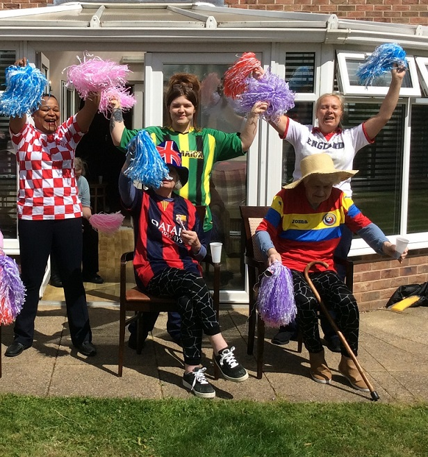 Team members cheering on the residents at Boroughbridge Manor