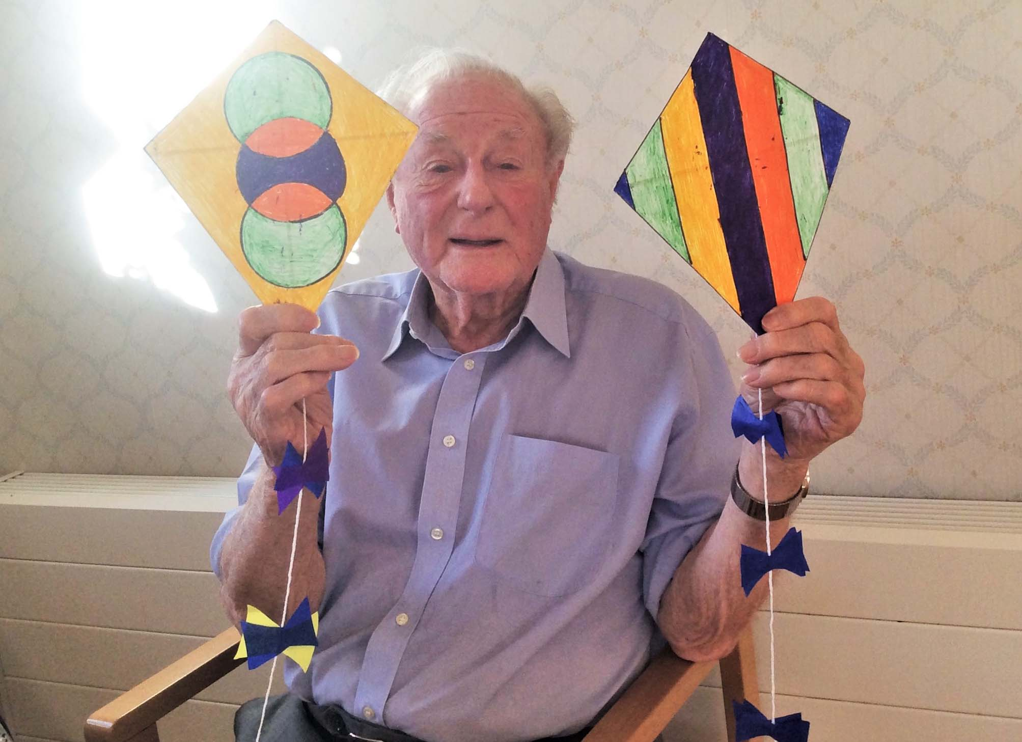 Crafting kites at Avery House Care Home for the International Kite Festival