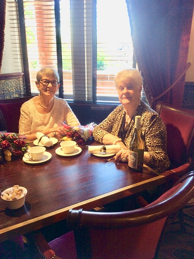Frances and Flora celebrate their 80th birthday together