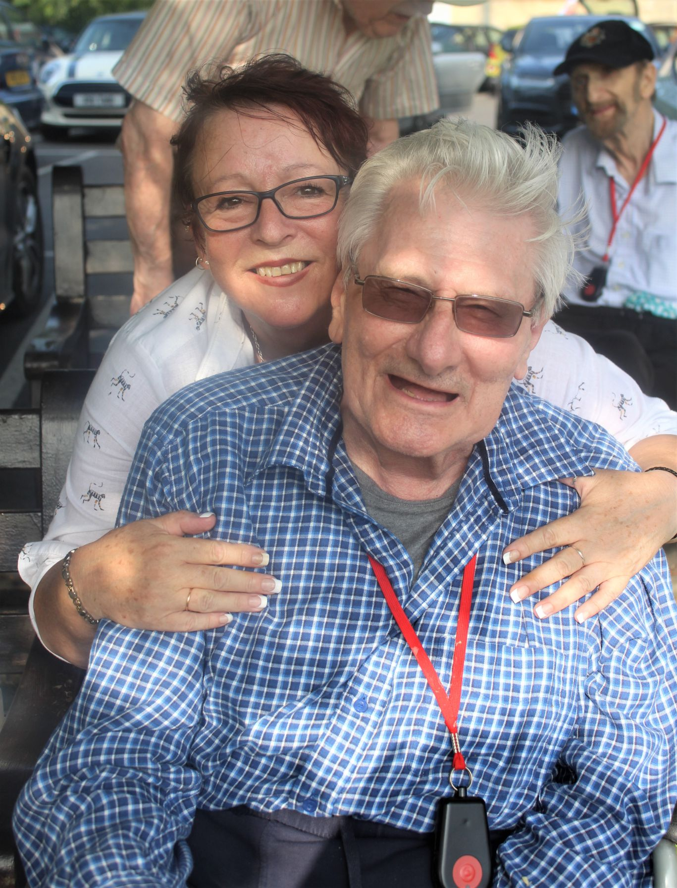Ivybank House Care Home, Bath-Resident Albert with Magic Moments Club Assistant Jane at Bath Cricket Club