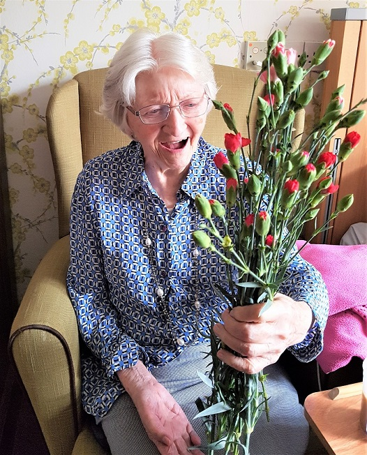 Kingston Care Home, Surrey-Valerie was delighted to receive flowers