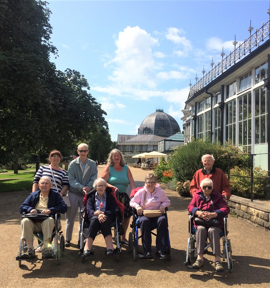 Lawton Manor Care Home, Staffordshire-Residents and team members enjoying the glorious Pavilion Gardens in Buxton
