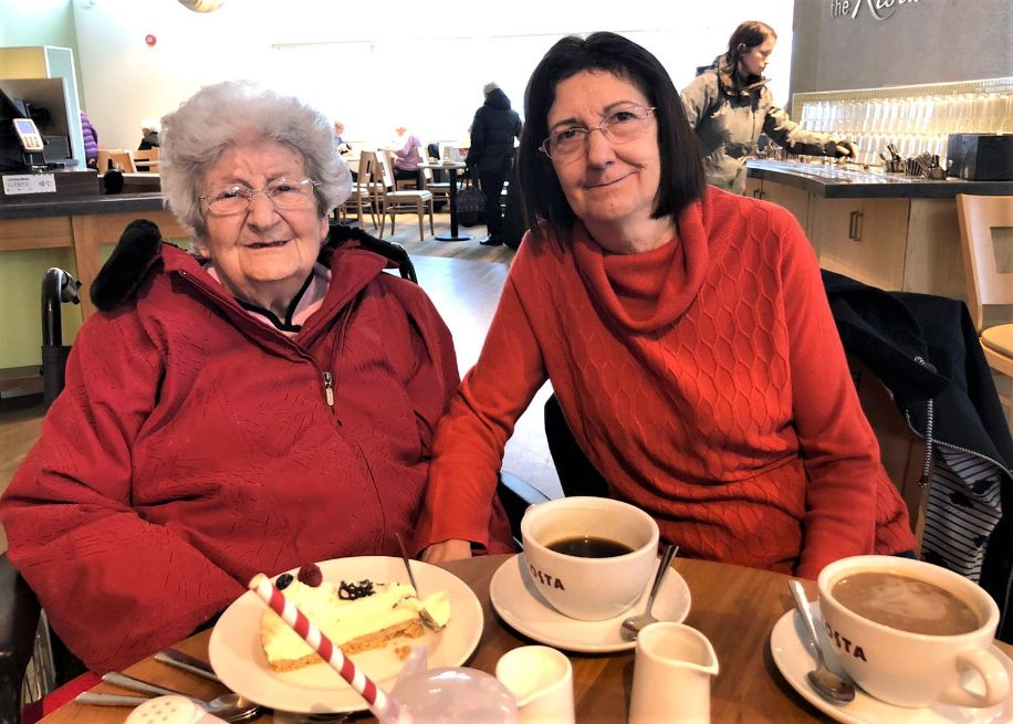 Meyrick Rise Care Home, Bournemouth-Liliana and Donella enjoying coffee and cake at Haskins Garden Centre
