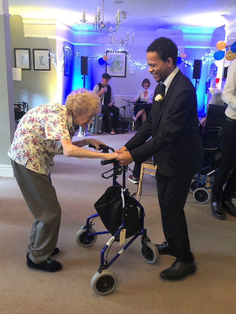 Meyrick Rise Care Home, Dorset-Resident Kaye takes to the dance floor with one of the student organisers