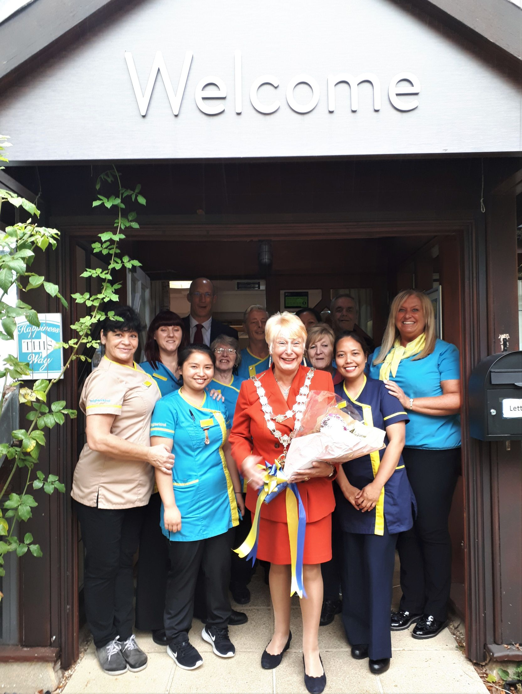 Meyrick Rise Care Home, Bournemouth-The Mayor of Bournemouth, Councillor Susan Phillips surrounded by Meyrick Rise team members