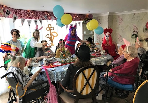 Mill House Care Home, Oxfordshire-Our Mad Hatter's Tea Party in full swing