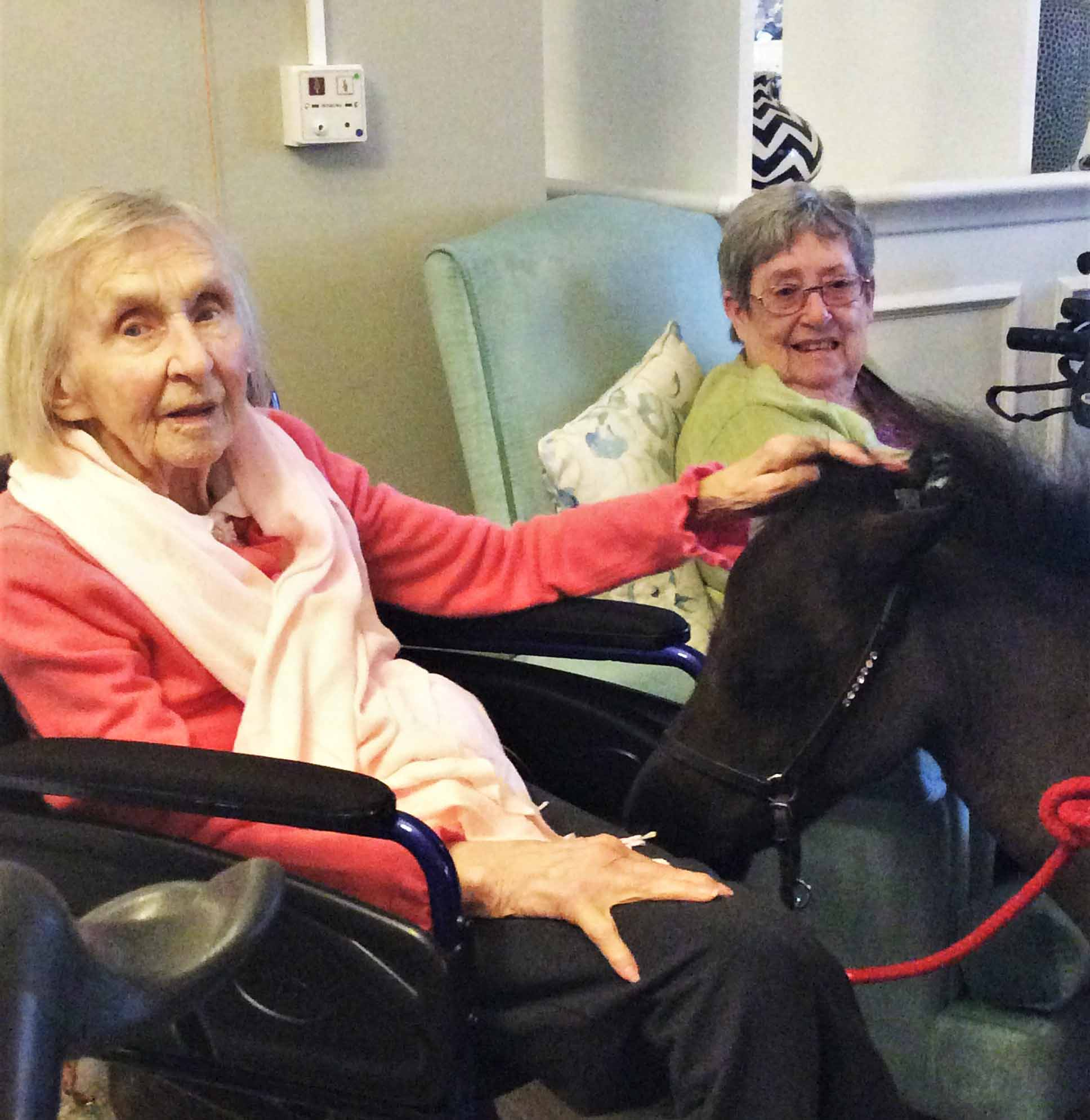 Residents Milly and Val enjoy saying hello to the pony in the lounge!