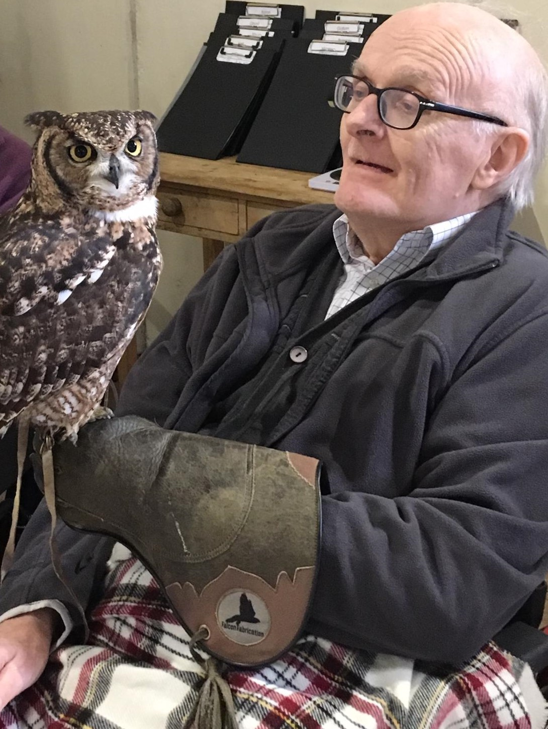 Oakfield Care Home residents in Bath have a visit from owls