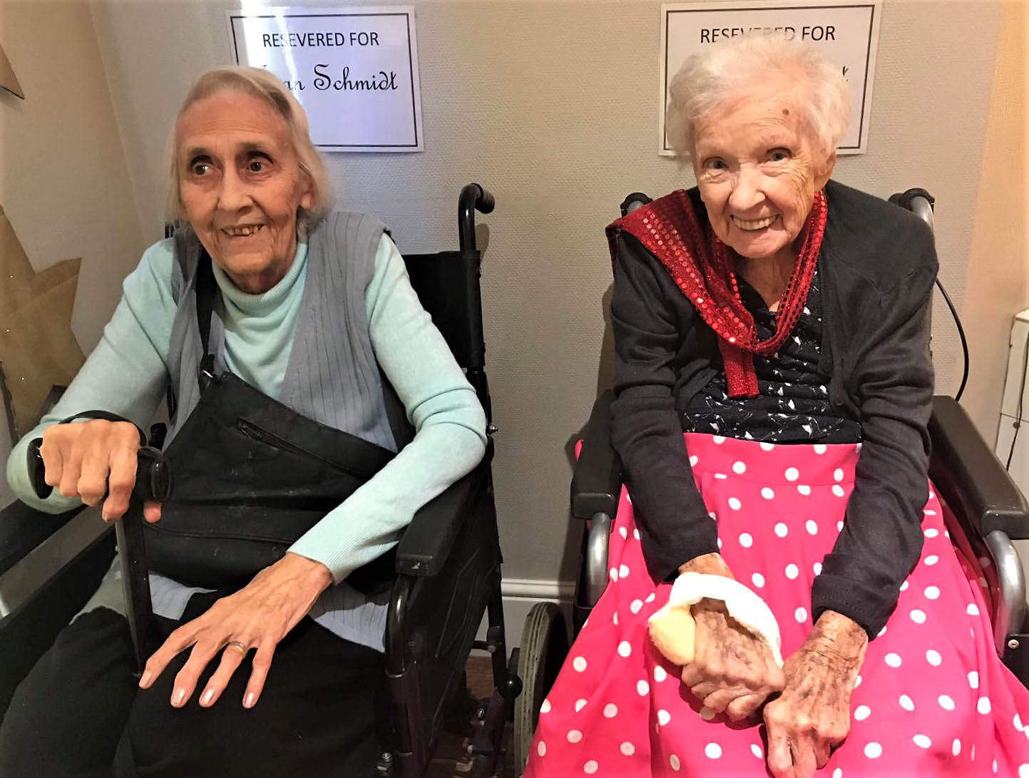 Residents Joan Schmidt and Dolores Hewitt waiting to perform