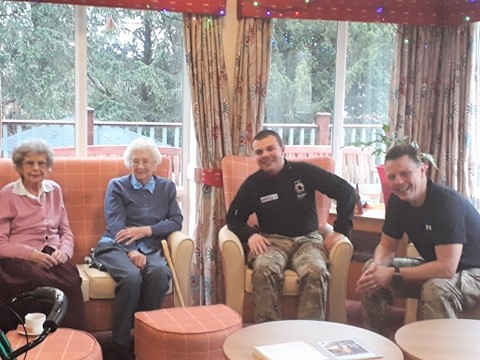 Ashbourne Court Care Home in Hampshire share a lovely morning with the army cadets