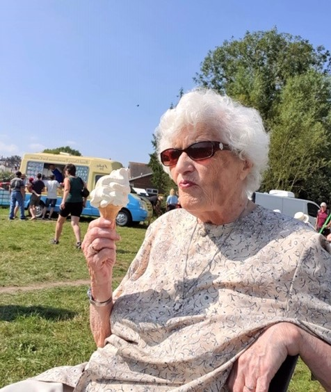 Ross Court Care Home, Herefordshire-Brenda enjoying an ice cream at Ross Regatta