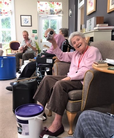Ross Court Care Home, Herefordshire-Resident Pam had great fun at our drum workshop