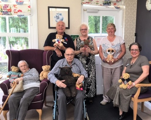 Ross Court Care Home, Herefordshire-Residents Barbara and Michael with Royal British Legion members Graham Aplin, Janet Knapper, Jane Bazeley and Diana Gaylord