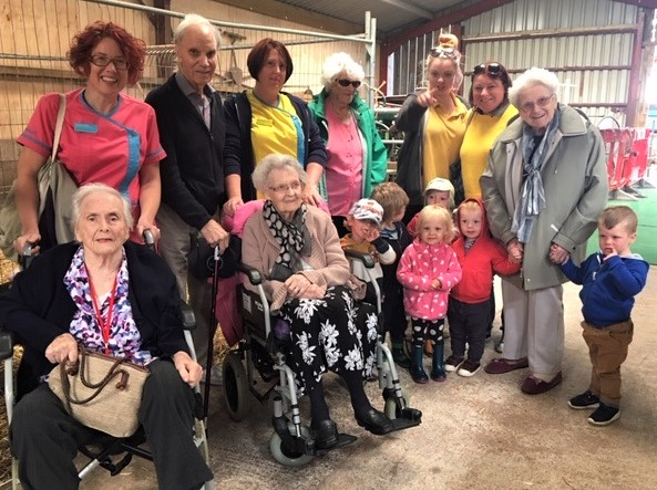 Ross Court Care Home, Herefordshire-Residents, team members and the children from Wyetots having a great time at Raglan Farm Park together