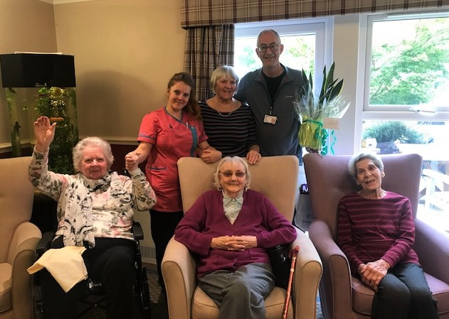 Scarborough Hall Care Home, North Yorkshire-Team member Jess, resident Ann, taxi driver Bill Rabjohn and residents Anne-Marie, Margaret and Pat wish Bill a fond farewell