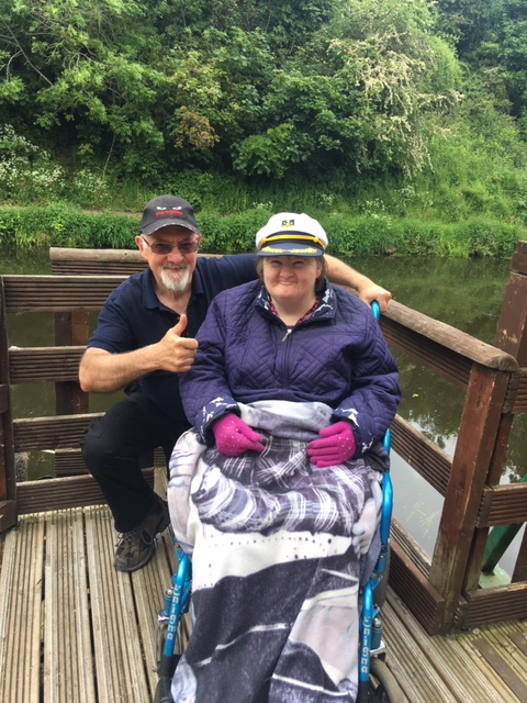 Springfield House Care Home, Codsall-Our skipper Tony and wearing the Captain's cap, resident Debbie