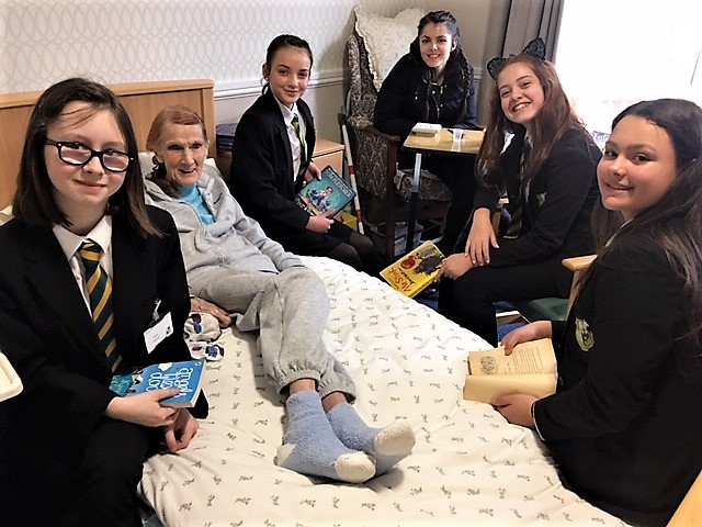Springfield House Care Home-Resident Beryl with pupils Jayda, Katie, Abby and Becky and teacher Miss Forbes from Brewood Middle School