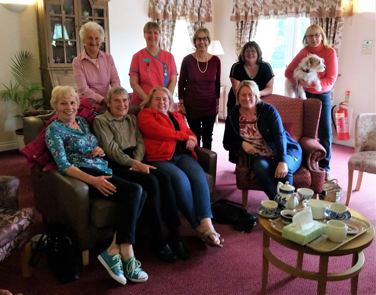 Tewkesbury Fields Care Home, Gloucestershire-The newly formed Tewkesbury Fields Support Group. Back row Wendy, Linda (Magic Moments Club Coordinator), Pat, Pat and Heather. Front row Jean, Win, Carol and Suzanne