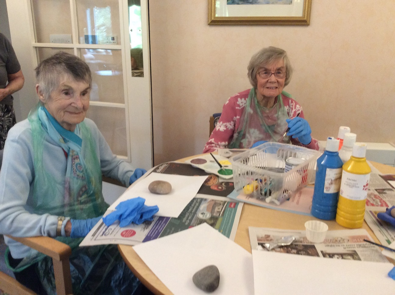 Residents Marjorie Smith and Hazel Edwards enjoying our Halloween craft activity